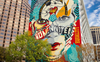 Shepard Fairey and Sandra Chevrier celebrating gender equality